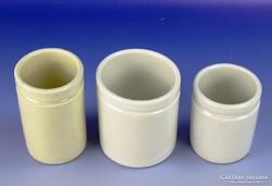 0G968 Régi porcelán patika tégely 3 darab