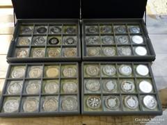 Magyar tallérok utánveretben 960gr. színezüst 48db érme