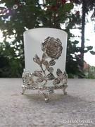 Gyertyatartó pohár-váza ezüstözött fém tartóban