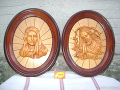 Egyházi jellegű faragott falikép párban eladó