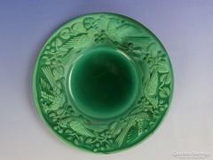 0H186 Antik jelzett malachit zöld tányér cca 1930