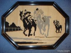 Art deco lóversenyt ábrázoló, gyapjú kézi gobelin, fa keretben /1920-30/