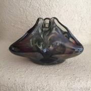 Nagy, háromarcú muránói üvegtálka - murano art glass bowl  (65)