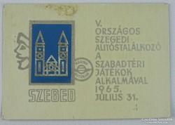 0H066 Szegedi országos autóstalálkozó plakett 1965