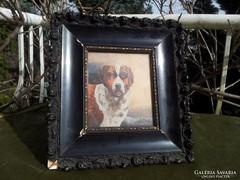 Antique dog portrait, oil painting