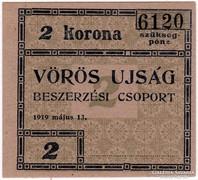 VÖRÖS UJSÁG - 2 Korona