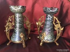 Loetz üveg váza pár