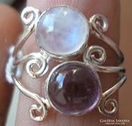 925 ezüst gyűrű ametiszt, holdkő 17,5/55 mm