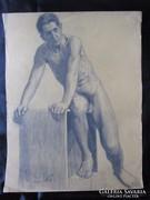 FÉRFI AKT TANULMÁNY GRAFIT RAJZ jelzett 1923