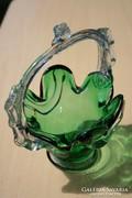 Zöld fújt üveg csodaszép kosár, kaspó, virágtartó