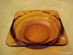 Mézborostyán színű üveg hamutál