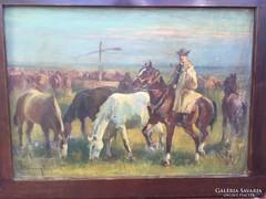 B Bélaváry István.olaj, vászon,festmény.