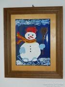 Korcsolyázó hóember - tűzzománc kép