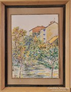 Ismeretlen festő: Budapesti park, akvarell, 1971