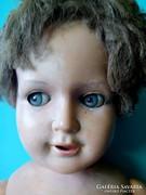 Antik régi ROSCHI baba 60 cm oldalra is néző huncut szemű antik leány