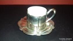 Ezüst kávéscsésze porcelán betéttel