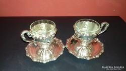 Ezüst bécsi rózsás kávéscsésze párban