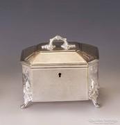 Ezüstözött cukortartó doboz