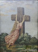 0I039 Régi szentkép gobelin blondel keretben