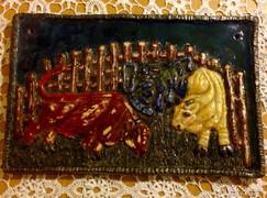 Terrakotta falikép jelzett képcsarnokos