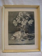 Kiss Terézia : Virág cseresznyével rézkarc