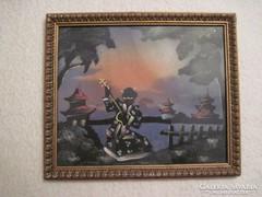 Régi selyem kép,selyemre festett kép 2.