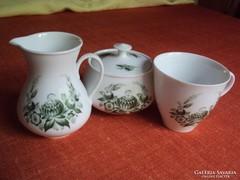 3 db.zöld virágdíszes,porcelán, kávés szett