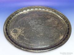 0I394 Antik nagyméretű ezüstözött tálca 45 x 57 cm