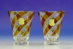0I321 WASUNGEN csiszolt borostyán sárga pohár pár