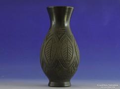 0I562 Régi fekete cserép váza 24 cm