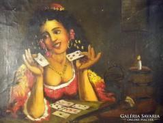 P109 Jelzett festmény Jósoló fiatal cigánylány