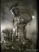 P116 Szecessziós nagyméretű ezüstözött plakett