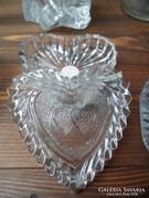 Szív alakú ékszer tartó fedeles üveg doboz ÚJ!