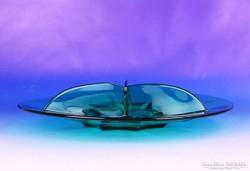 0E399 Retro zöld üveg asztalközép kínáló