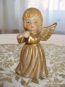 Porcelán, furulyázó angyalt ábrázoló karácsonyi csengő