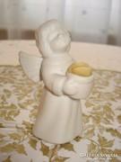 Gyertyatartó angyalka, biscuit porcelán