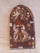 Zsűrizett retro iparművész kerámia falikép