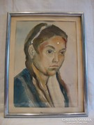Akvarell festmény , kislány portré 1942