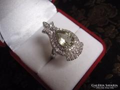 Zöld ametiszt köves ünnepi ezüst gyűrű, koktélgyűrű
