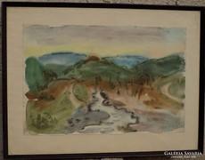 Pituk József V. hagyatékból akvarell Tájkép,