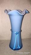 Dekoratív kék, kétrétegű üveg váza (8)