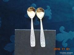 Ezüstözött-aranyozott virág mintás teás kiskanál-2 db
