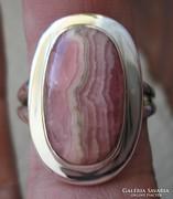 925 ezüst gyűrű, 19,1/60 mm, Rhodokrozittal