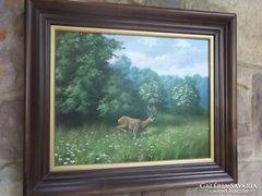 Neves vadászfestőnk Csiszár József Őzbak o.,fa,jjl. c.festménye vadászoknak ajándékba is