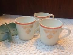 Lóherés, szecessziós, finom porcelán  kávés csésze 3db