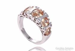 Mutatós, pezsgőszínű cirkónia köves gyűrű 8-as ÚJ!