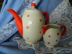 Antik, Art Deco Echenbach porcelán teás, tejes kiöntő