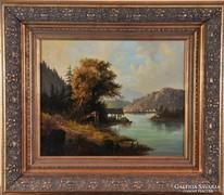 Ismeretlen festő: Romantikus tájkép, 19. század