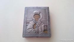 Orosz 875 ös (84) ezüst Szt. Miklós kis ikon