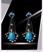 Kék Topáz  türkiz 18 Karát arannyal ródiumozott  luxus füli